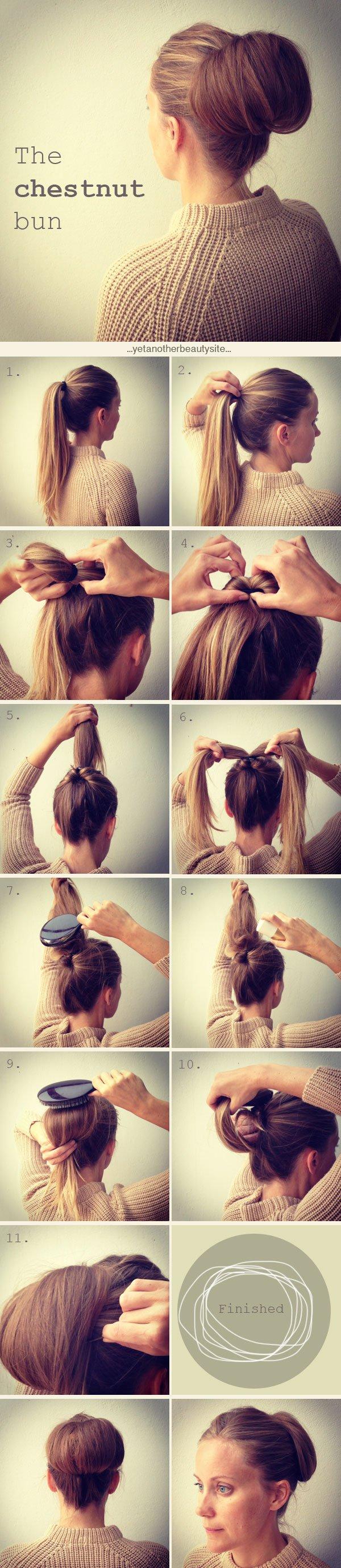 Cute Chestnut Bun Hairstyle for Women