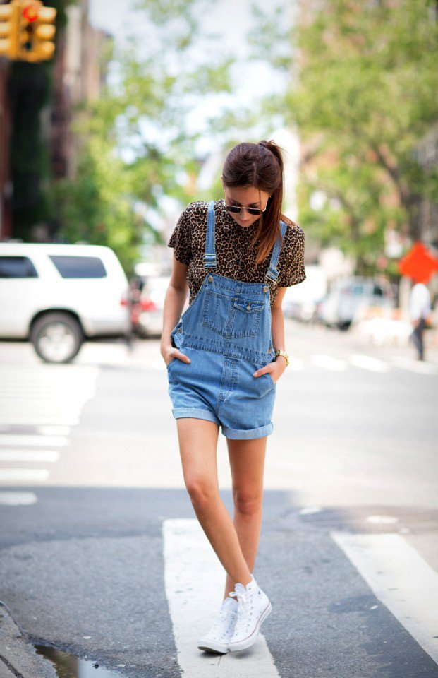 Denim Overall with Print T-Shirt