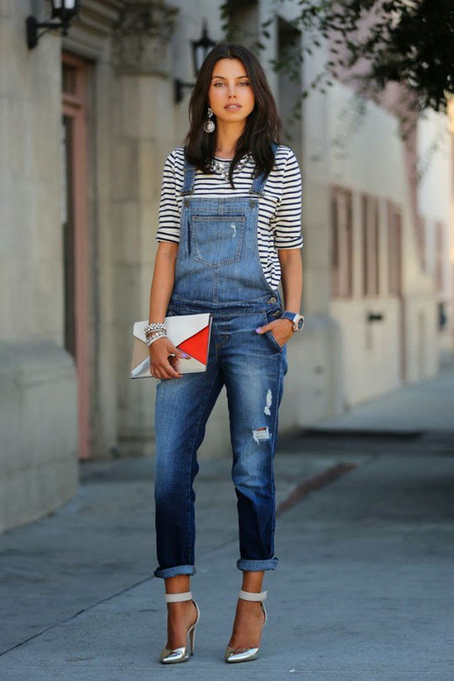 Denim Overall with Striped T-Shirt