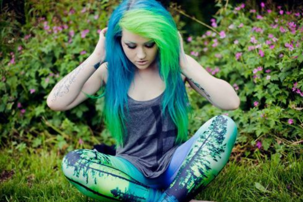 Edgy Blue and Green Hair