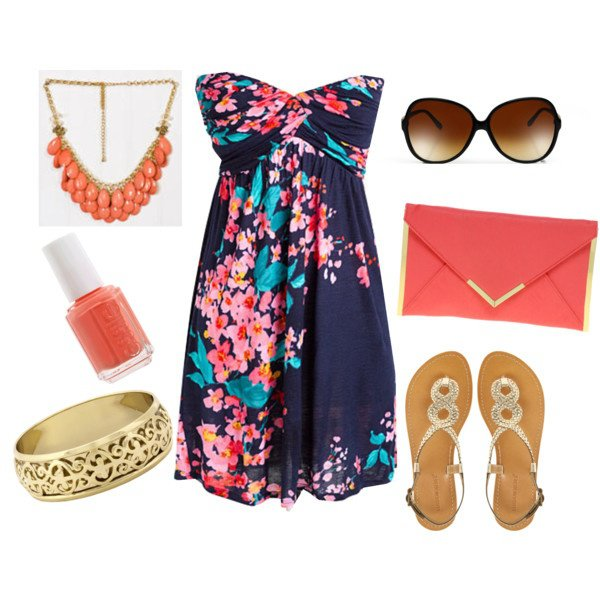 Floral Print Strapless Dress With Accessories