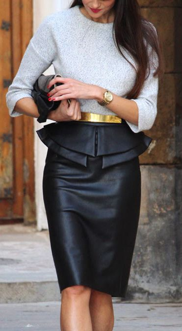Futuristic black leather skirt