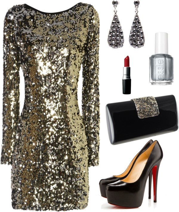 Gold Sequined Evening Dress with Black Pumps