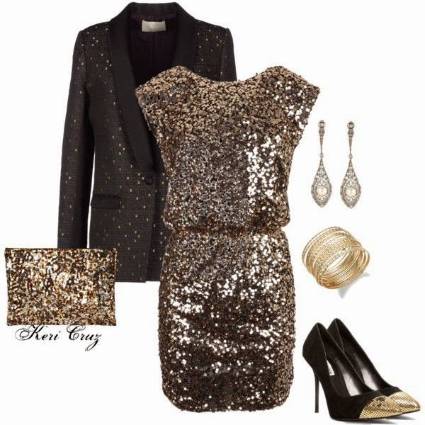 Gold Sequined Evening Dress