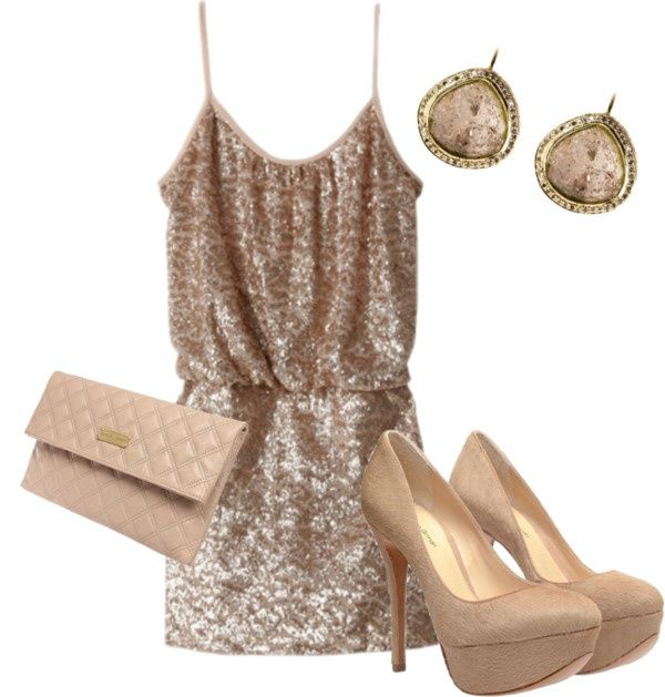 Gold Sundress with Nude Pumps