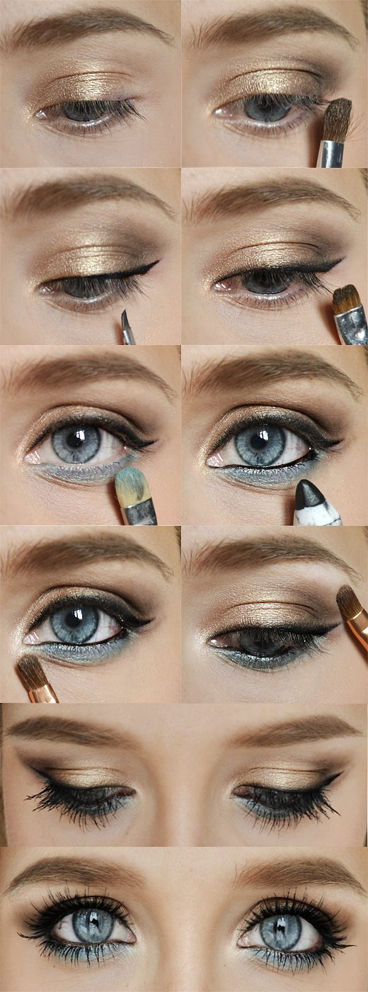 Gold and Blue Eye Makeup Idea