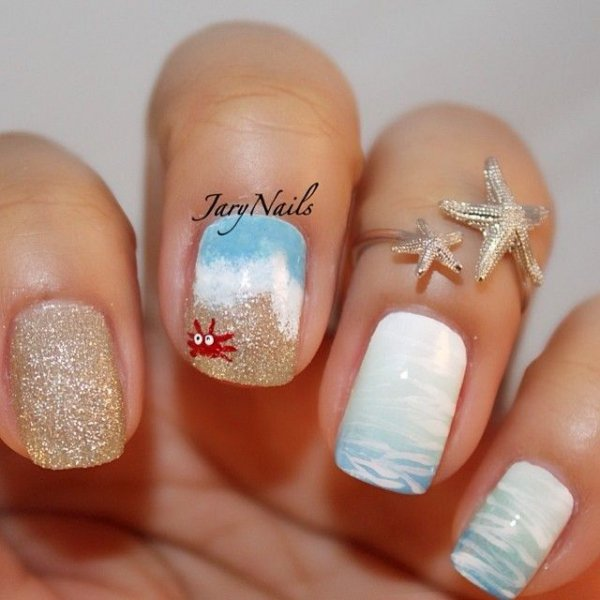 Gold and White Nail Art Design