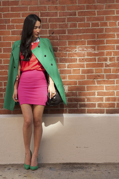 Green Blazer with Pink Skirt