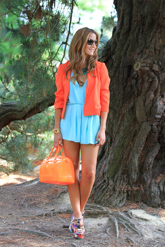 Green Rompers with Coral Blazer