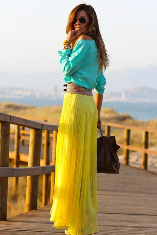 Green Top with Yellow Maxi Dress