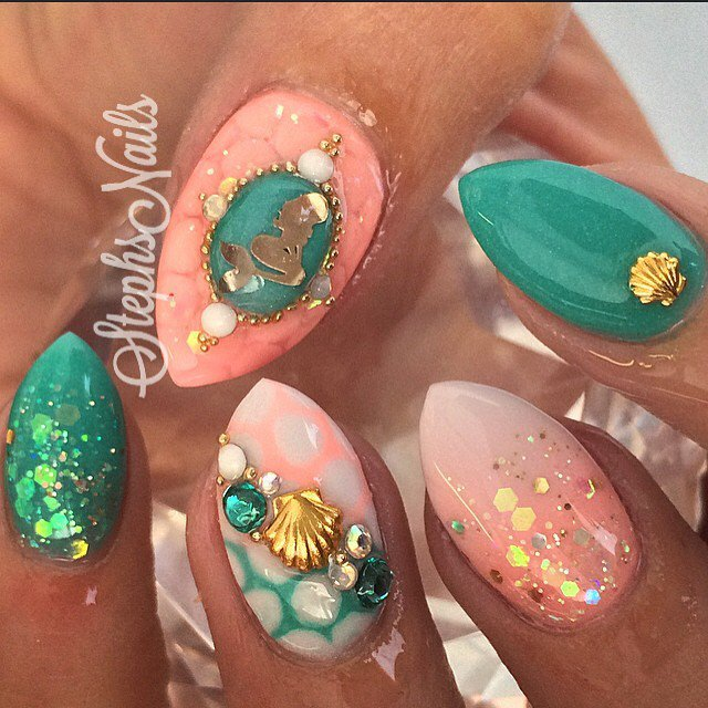 Green and Coral Nail Art Design