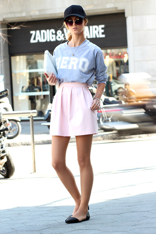 Grey Sweater with Pink Skirt