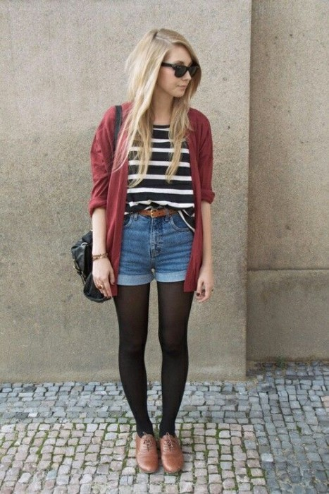 High-Waist Shorts and Striped Top