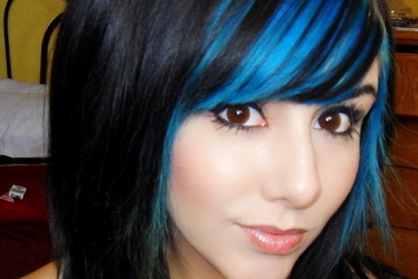 Long Black Hair with Blue Bangs