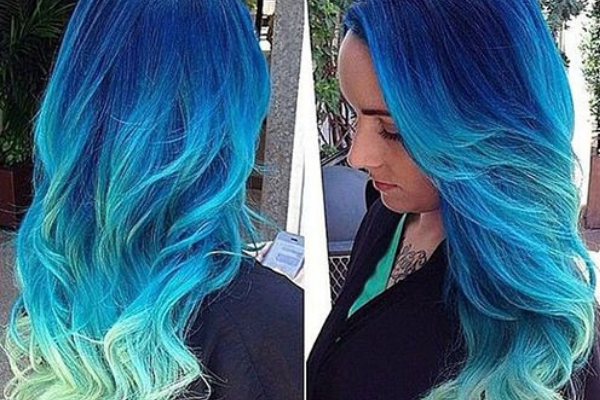 Long Wavy Blue Ombre Hair