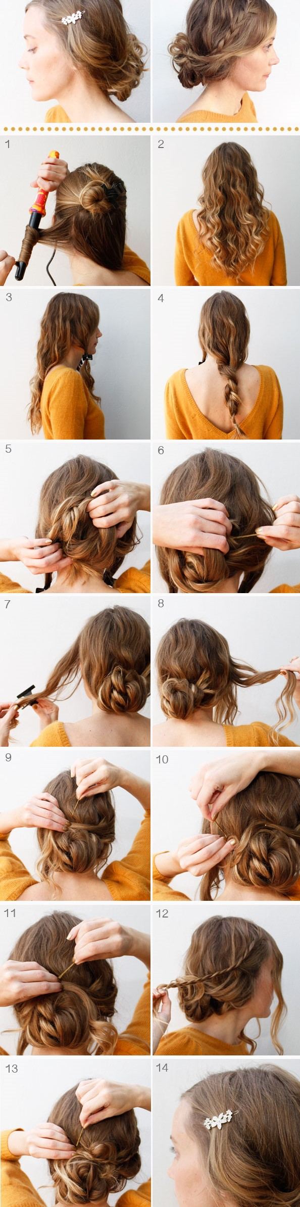 Messy Twisted Updo for Long Curly Hair