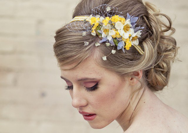 Messy Updo Hairstyle With Flowers