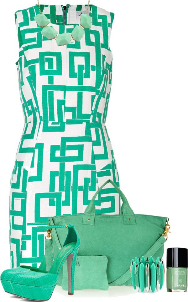 Mint Print Dress and Handbag