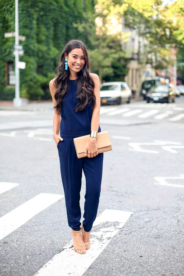 Cool Home Womens Jumpsuits Amp Dungarees Neck Chain Jumpsuit In Navy Blue