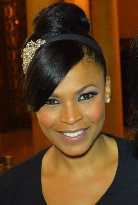 Nia Long Top Bun Hairstyle