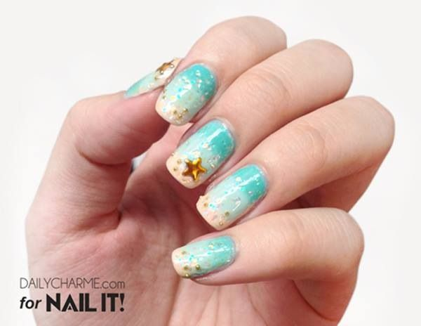 Ocean Blue Nail Art Design