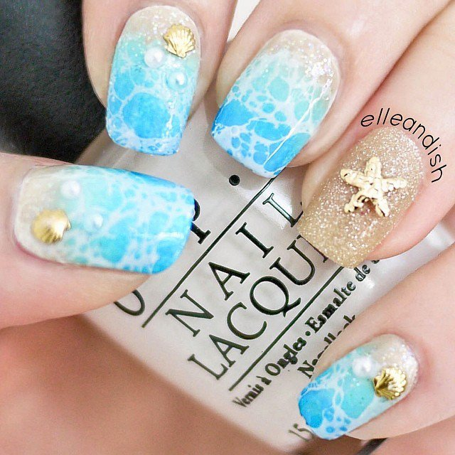 Ocean Inspired Nail Art Design