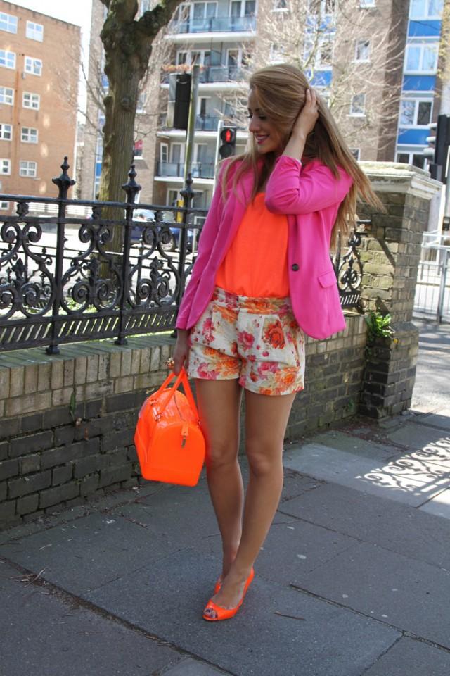 Pink Blazer and Print Shorts