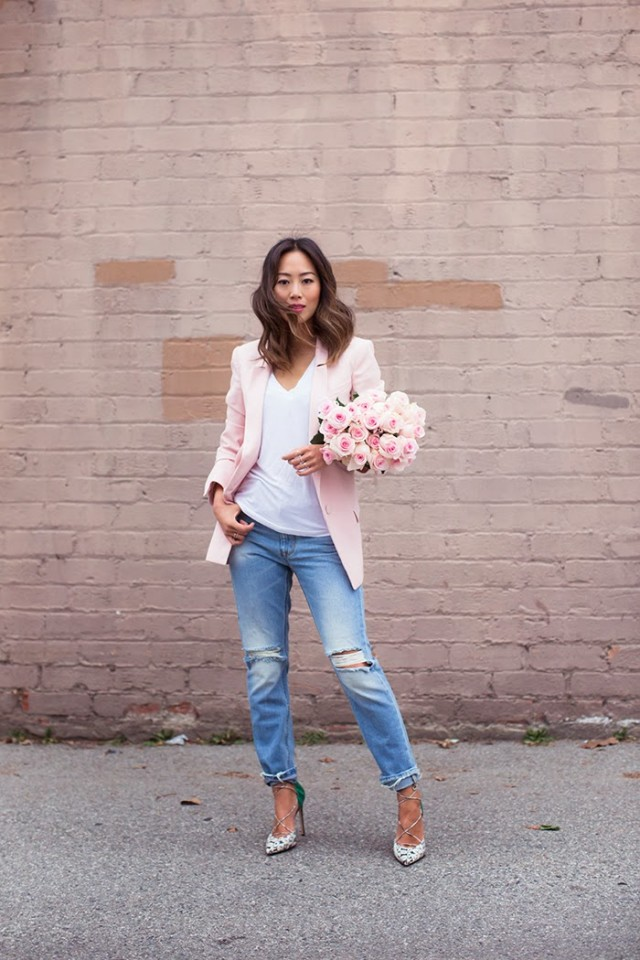 Pink Blazer with Ripped Jeans