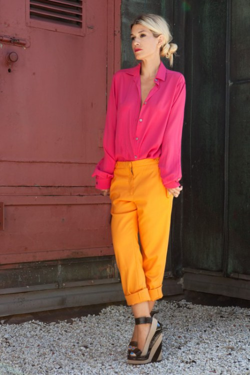 Pink Shirt with Yellow Pants
