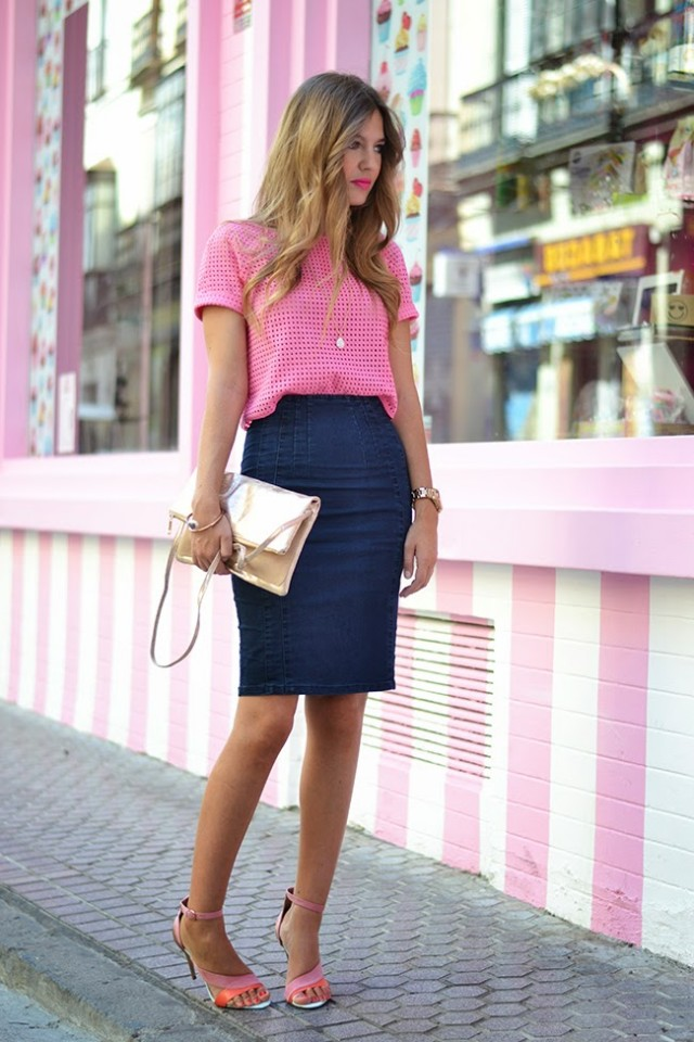 Pink T-Shirt and Denim Skirt