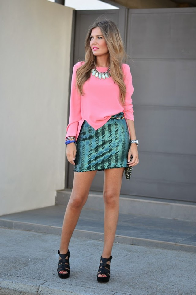 Pink Top And Green Skirt