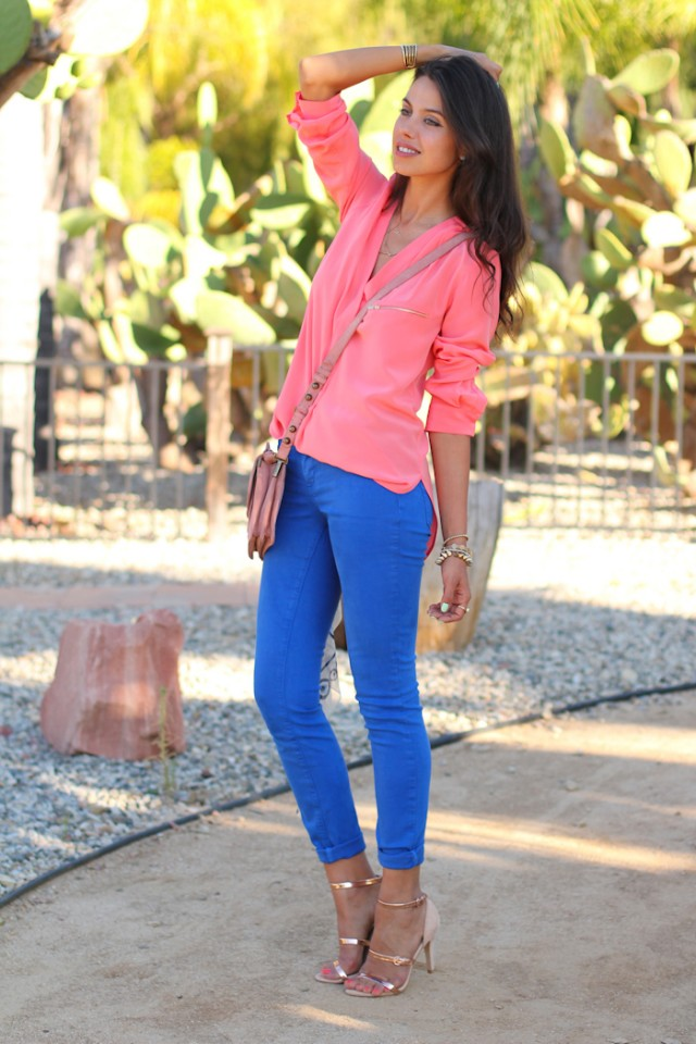Pink Top with Blue Pants