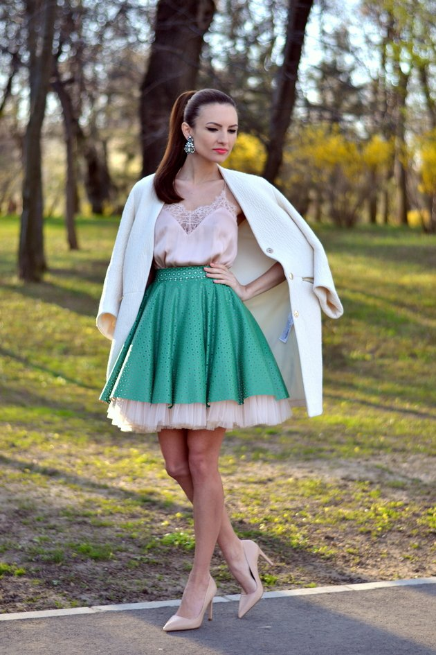 Pink Top With Green Skirt
