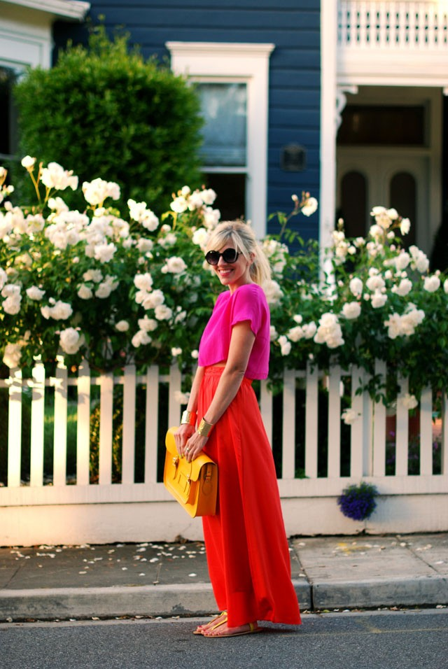 Pink Top with Maxi Dress