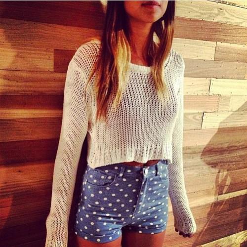 Polka Dot High-Waist Shorts