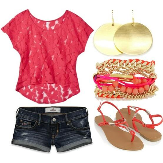 Pretty Coral T-Shirt and Denim Shorts