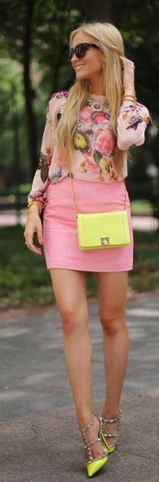 Pretty pink leather skirt