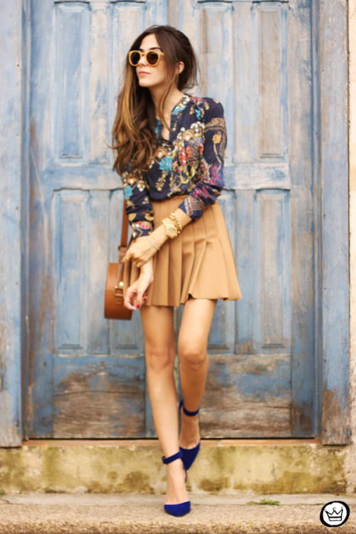 Print Top and Brown Skirt