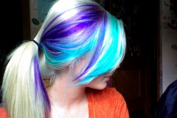Purple and Teal Ponytail Hairstyle