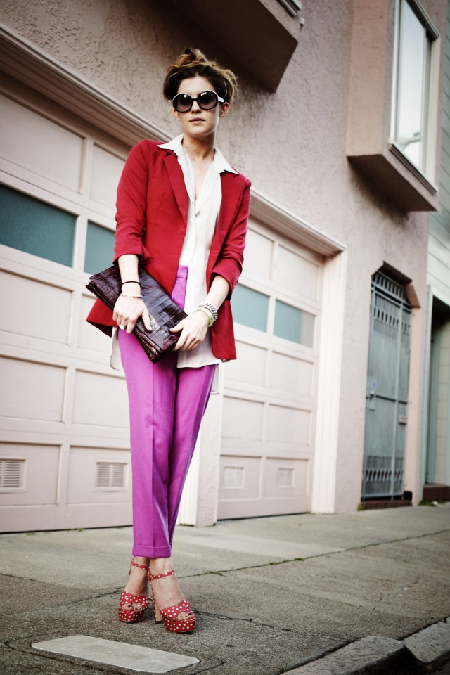 Red Blazer and Purple Pants