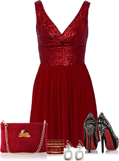 Red Sequined Evening Dress