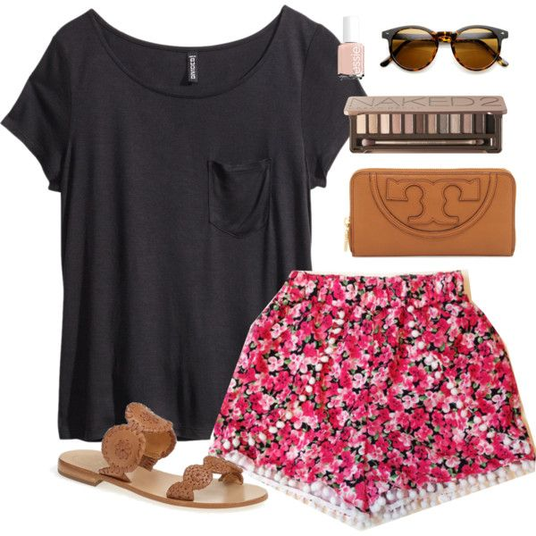 Simple Black Tee and Floral Shorts