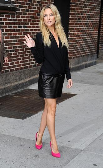 Simply elegant black leather skirt