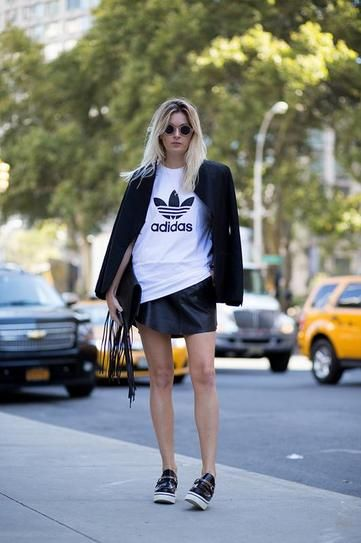 Sporty chic leather skirt