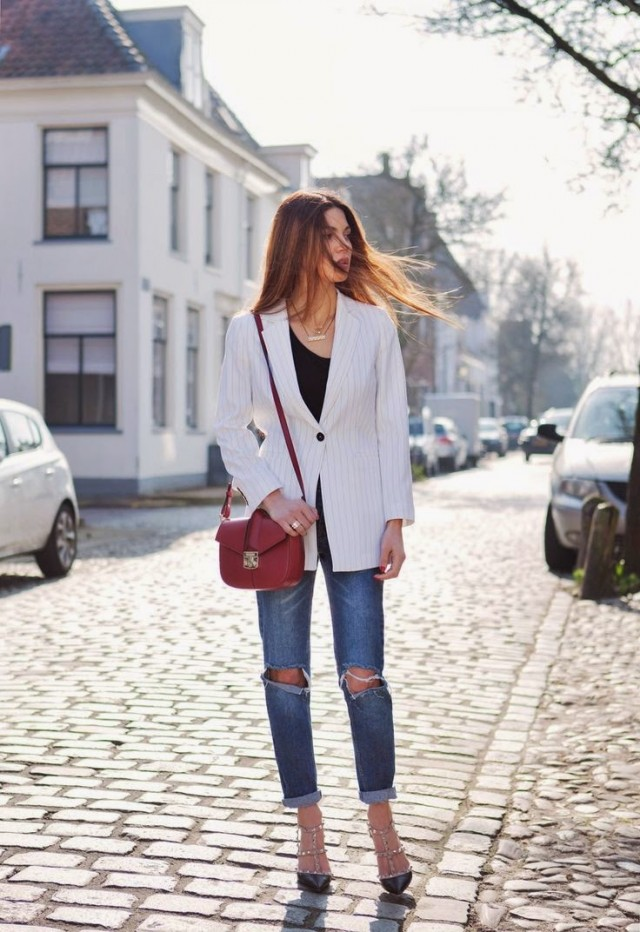 Striped Blazer with Ripped Jeans