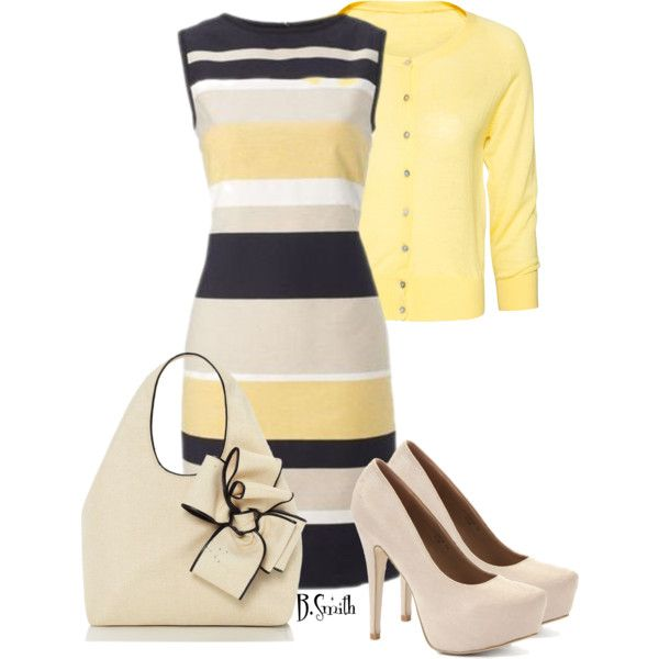 Fabulous Striped Dress with Yellow Blazer
