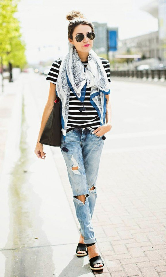 Striped T-Shirt with Boyfriend Jeans