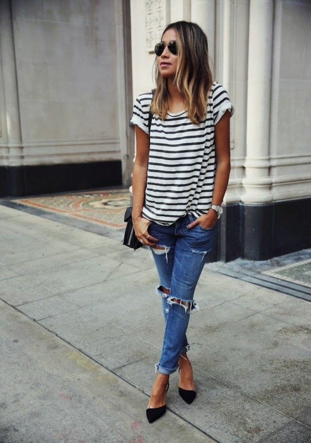 Striped T-Shirt with Ripped Jeans