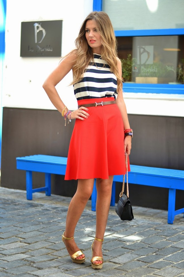 Striped Top and Red Skirt