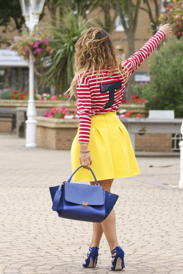 Red Striped Top with Yellow Skirt